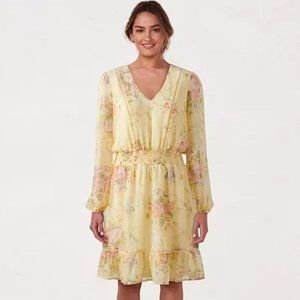 LC Lauren Conrad V-Neck Flounce Dress Floral Smock